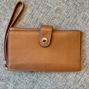 Coach Cognac Leather Wallet and Phone Holder